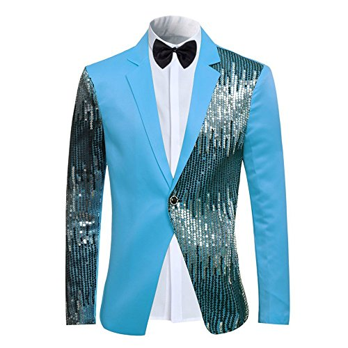 Men's 2-Piece Suit Casual 1 Button Slim Fit Prom Suit Stylish Sequin