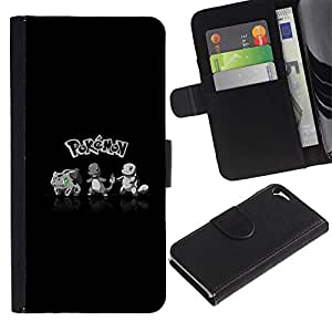 KLONGSHOP // Tirón de la caja Cartera de cuero con ranuras para tarjetas - P0kemon Squad - Apple Iphone 5 / 5S //