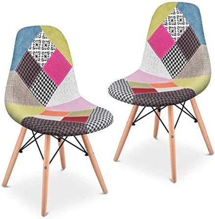 Comprar Mc Haus SENA Patchwork - Pack 2 Sillas comedor vintage patchwork tower multicolor rosa diseño tapizado sillas salon estilo retro diseño tower 49x46x84cm