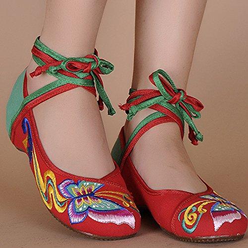 de lenguado étnico Mariposa red hembrashoes green estilo Zapatos zapatos cómodo bordados tendón baile WXT de moda THtIxw0qt