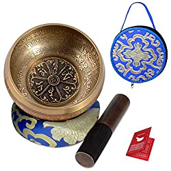 SHANSHUI 5 inch Tibetan Singing Bowl, Nepal Antique Mantra Carving Hand Hammered Sound Bowl Set For Yoga Chakras Healing Meditation Zen With Leather Striker -Blue