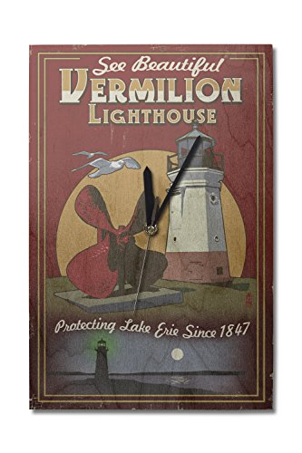 Ohio - Vermilion Lighthouse - Vintage Sign (10x15 Wood Wall Clock, Decor Ready to Hang) (Lighthouse Vermilion Wood)