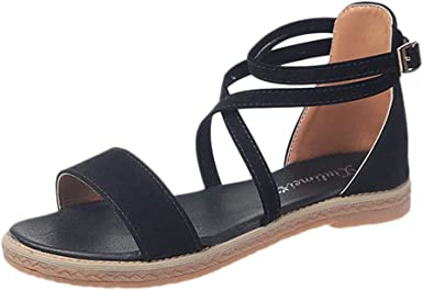 Claystyle Womens Strappy Flat Open Toe Lace Up Strap Ankle Summer Beach Sandals