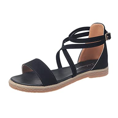 a74a6444bce8c Amazon.com: Claystyle Womens Lace Up Strappy Cute Summer Beach Flat ...