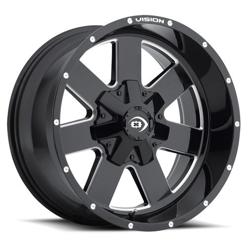 Vision 411 Arc Gloss Black Milled Spokes Wheel with Milled Finish (18x9''/8x180mm) by Vision