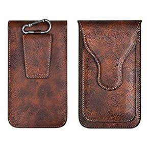 Realtech Leather Belt Clip Case with Double Mobile Pocket Cover, Magnetic Cover for Samsung Galaxy S21 Ultra 5G – Brown…