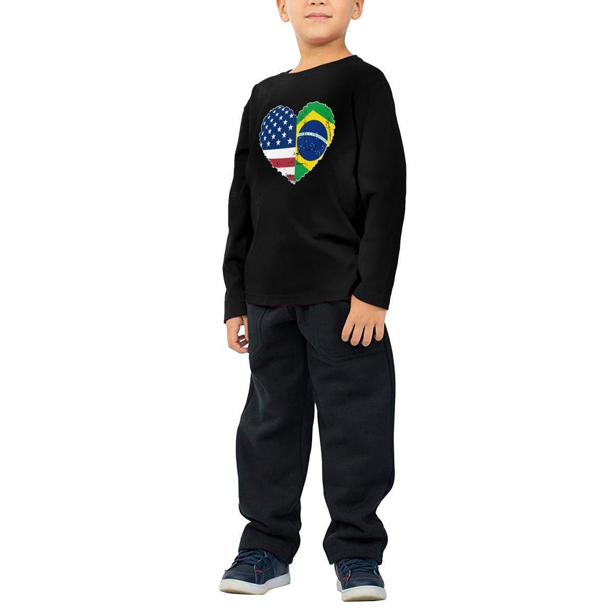 CERTONGCXTS Baby Girls Little Boys Brazil USA Flag Heart ComfortSoft Long Sleeve T-Shirt