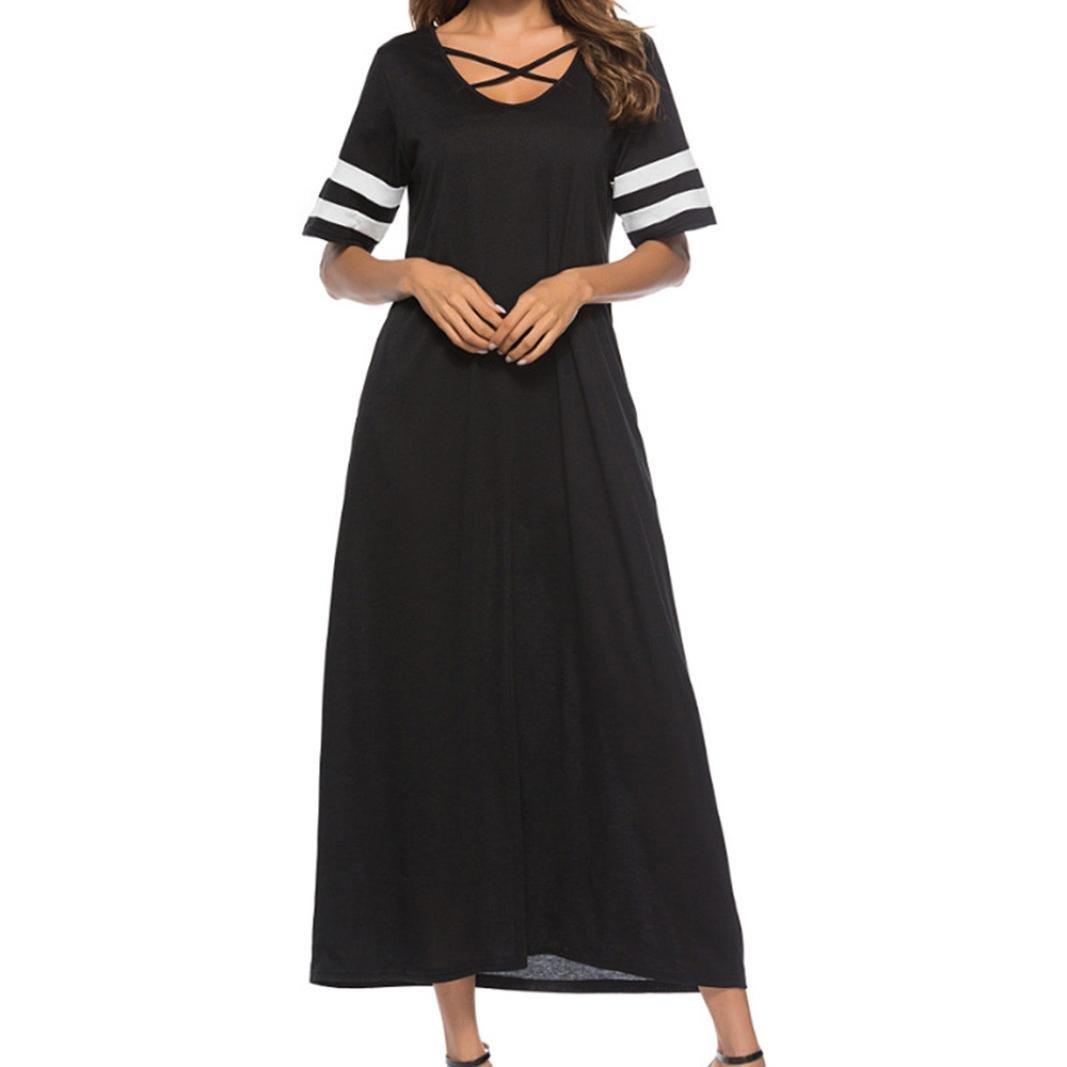 SANFASHION Bekleidung - Vestido - Trapecio o Corte en A - Manga Corta - para Mujer Negro 42 EU: Amazon.es: Ropa y accesorios