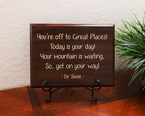 You're off to Great Places! Today is your day! Your mountain is waiting, So… get on your way! Dr. Seuss Decorative Carved Wood Sign Quote, Faux (Dr Seuss Signs)