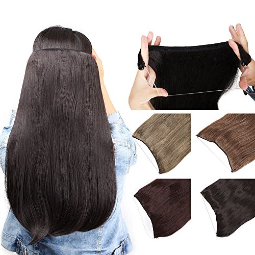 Hidden Invisible Secret Wire Flip on Hair Extensions 20Inches Long Natural Straight Heat Resistant Synthetic Hairpieces Miracle Translucent Fish Line Black Blonde Brown (2/33#)