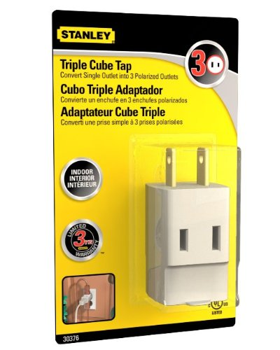 Stanley 30376 Triple Cube Tap, Polarized 3-Outlet Adapter, White ...
