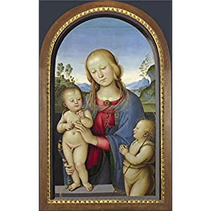Perfect Effect Canvas ,the Best Price Art Decorative Prints On Canvas Of Oil Painting 'Associate Of Pietro Perugino - The Virgin And Child With Saint John,about 1480 - 1500', 8x13 Inch / 20x32 Cm Is Best For Home Theater Decor And Home Artwork And Gifts