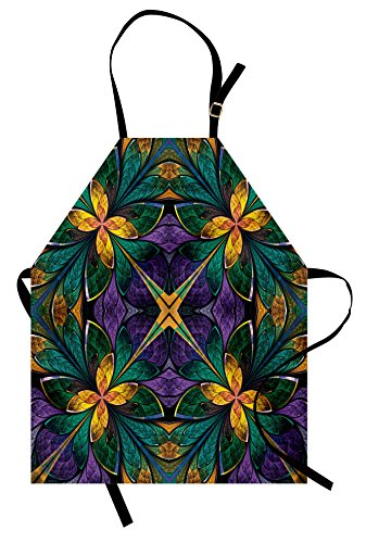 Ambesonne Fractal Apron, Antique Ornate Symmetric Stained Glass Mosaic Window Style Floral Tile Pattern Unisex Kitchen Bib Apron with Adjustable Neck for Cooking Baking Gardening, Purple Green