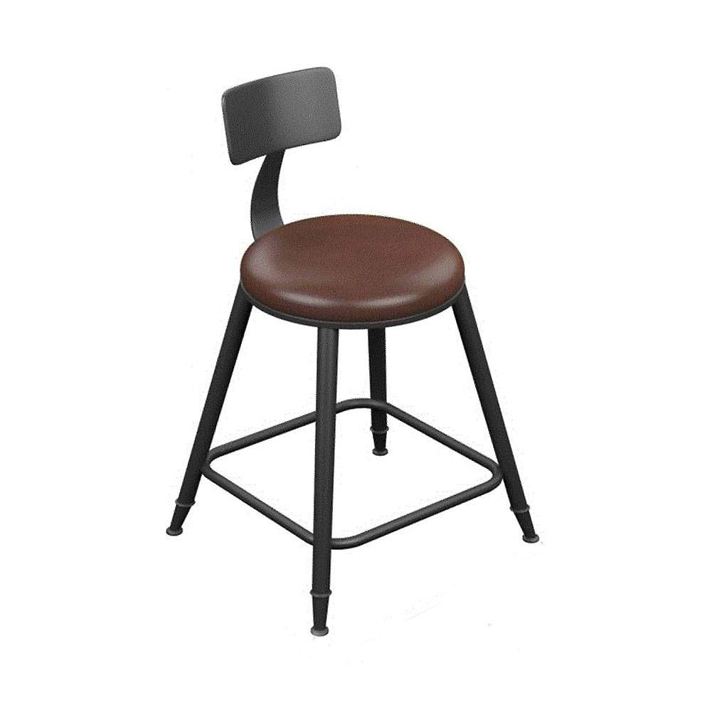 H 45cm DYR Retro Bar stools Bar stools with Back, Iron Art Breakfast stools Pub Stool Leatherette Exterior for Breakfast bar Coffee Counter-H 73cm