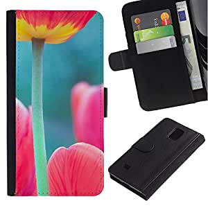 All Phone Most Case / Oferta Especial Cáscara Funda de cuero Monedero Cubierta de proteccion Caso / Wallet Case for Samsung Galaxy Note 4 IV // amapola tulipán rosa verde la naturaleza de primavera