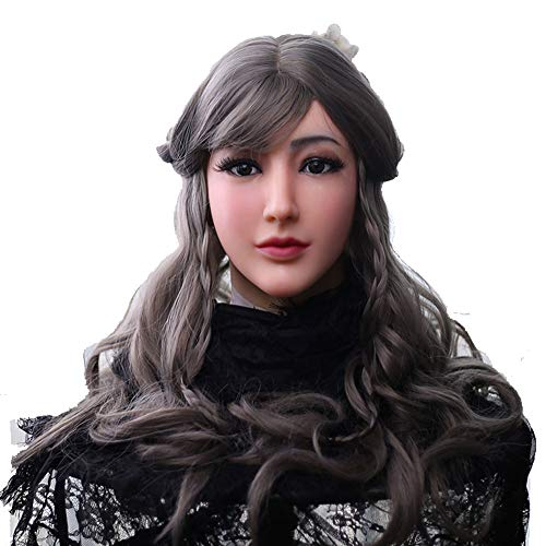 CrossdressingMen Silicone Female Mask,Realistic Female Silicone Mask Alice Makeup Face Cosply for Man Corssdresser -