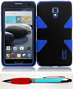 Accessory Factory(TM) Bundle (the item, 2in1 Stylus Point Pen) For LG Optimus F6 D500 MS500 Dynamic Hybrid Cover Case - Black+Blue