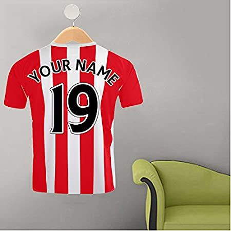831f591f2ea RED & WHITE STRIPE FOOTBALL SHIRT YOUR NAME & NUMBER CUSTOM PRINTED  FOOTBALL SHIRT ON HANGER WALL STICKER: Amazon.co.uk: Kitchen & Home