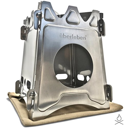 - Überleben Stoker Flatpack Stove | Twig, Stick, or Wood Burning | Compact & Collapsible | 304 Stainless Steel | Emergency Bushcraft Survival, Camping or Backpacking | Unwaxed Canvas Sleeve