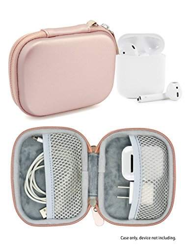 Purse Accessories (Travel Protection and Storage Case for Airpods Case, featured design, mesh pouches for airpods case, wall charger and cable, (Rose Gold))