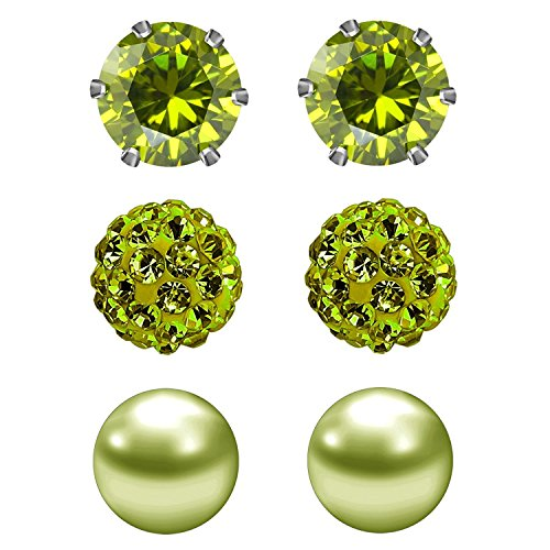 - JewelrieShop Cubic Zirconia Rhinestones Crystal Ball Faux Pearl Birthstone Stud Earrings for Women Girls - Hypoallergenic Stainless Steel Earrings - 3 Pairs - Deep Olive (Aug.)