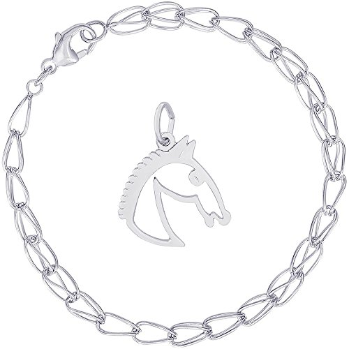Rembrandt Charms Sterling Silver Flat Horse Head Charm on a Double Twist Bracelet, 7