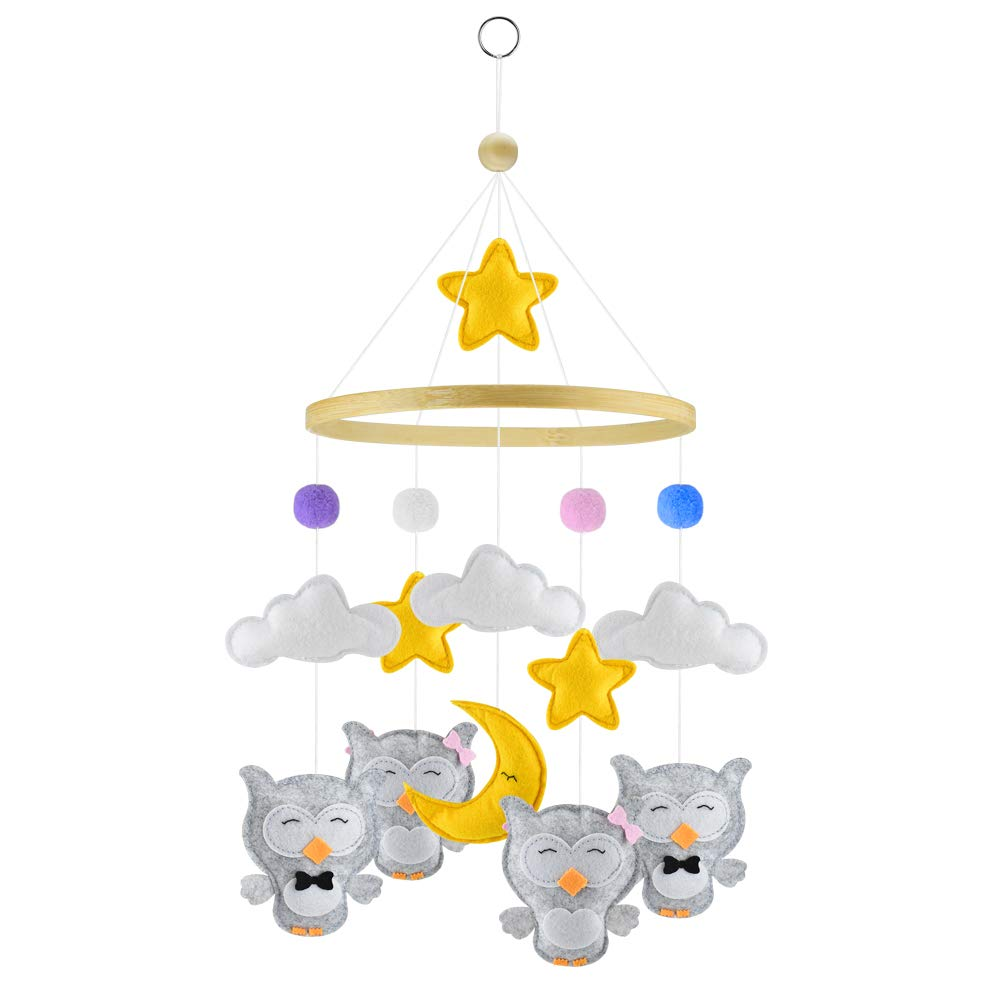 Exttlliy Felt Cloth Moon and Stars Baby Mobile Nursery Ceiling Crib Mobiles Kids Room Hanging Decorations