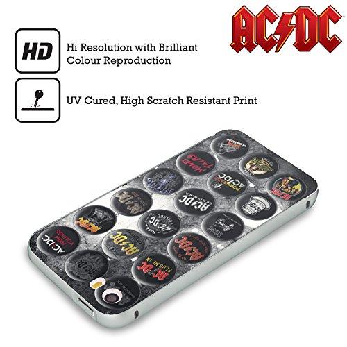 Officiel AC/DC ACDC Chansons Épingles De Bouton Argent Étui Coque Aluminium Bumper Slider pour Apple iPhone 6 Plus / 6s Plus