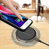 ANGELIOX Cargador inalámbrico, Qi Receptor de Carga inalámbrica Carcasa Funda para iPhone 7/6/6S, 10W Carga inalámbrica rápida Pad para Samsung Galaxy ...
