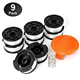 YWTESCH Line String Trimmer Replacement Spool,30ft 0.065'' Autofeed String Trimmer Line Replacement Spool for Black+Decker String Trimmers,9 Pack (8 Replacement Spool, 1 Trimmer Cap,1 Spring)