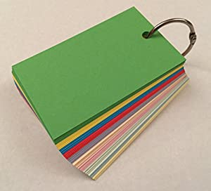 100 Blank Mixed Colour Flash Cards Key Ring 160gsm