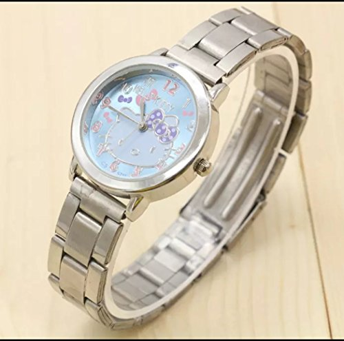 (Hello Kitty Wrist Watch Blue Color Stainless Steel Watch with Gift Box)