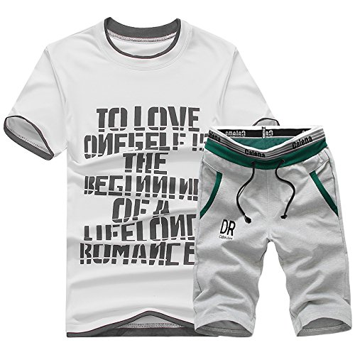 Asali Men's Short Sleeve Shirt T shirts Tee Tops Shorts Sports Sweat Suit Tracksuit