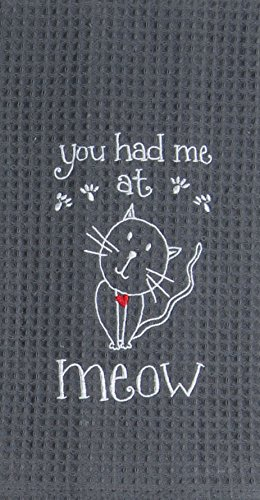 Merveilleux Kay Dee Designs F0782 Meow Embroidered Waffle Towel