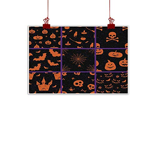duommhome Living Room Decorative Painting Halloween Seamless Pattern Set Living Room Decorative Painting 24