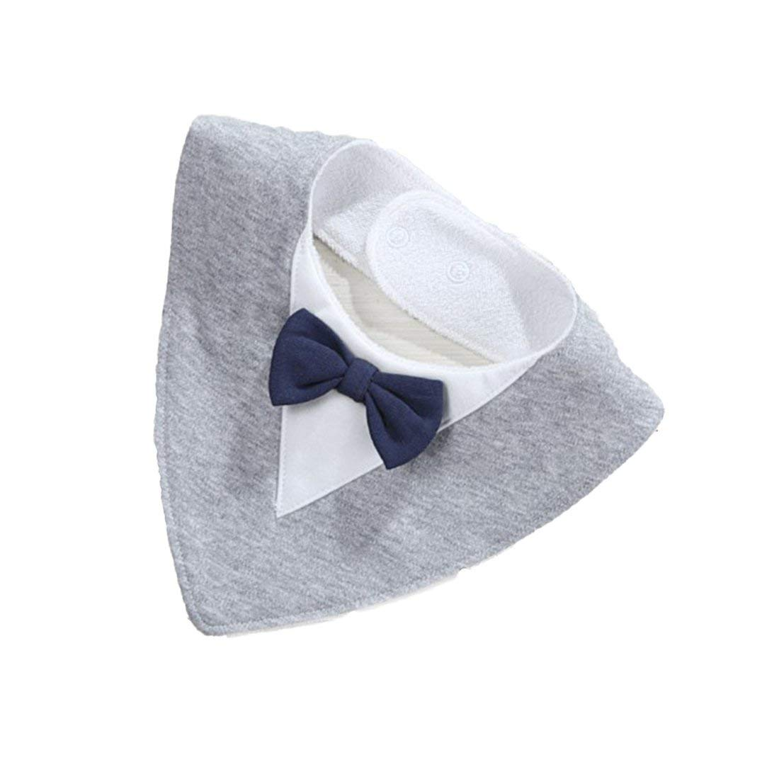 Fashion Triangle Bow Waterproof Baby Drool Bibs Organic Soft Pure Cotton Bibs for Teething Drooling Feeding Baby - Gray Formulaone