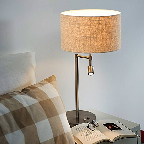 bedside table lamps. ONEPRE Modern Chrome Bedside Table Lamps Desk Lamp With Swing Arm Led Reading Light Cylinder Linen