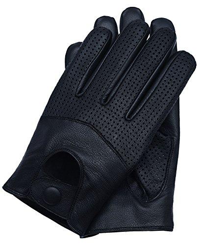 (Riparo Motorsports Men's Leather Driving Gloves (Medium, Black))