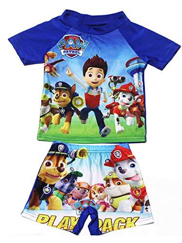 Minin Boys Cartoon Swimsuits Short Sleeve Pullover Rash Guard Sunsuit Sets 2-11Y