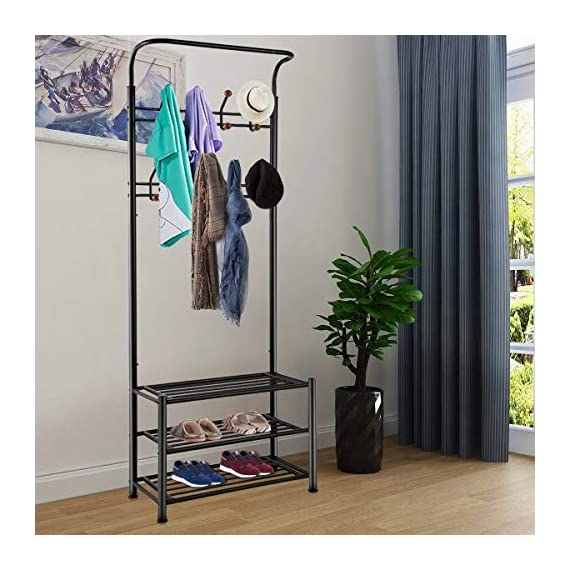 TomCare Coat Rack with 3-Tier Shoe Rack Hall Tree Entryway Bench Organizer 18 Hooks Coat Hanger Hat Racks Heavy Duty with Shoe Storage Shelves Metal Black for Doorway Hallway - Metal Multifunctional: Combined with coat rack, shoe rack and hanging rod, it is a multipurpose rack that will meet your multiple storage needs. The best storage solution for hallway, entryway, doorway and bedroom. We have extra anti-toppling straps to enhance the stability of the coat rack. Space Saving: This rack is equipped with 18 hooks in 4 levels and 3-tier shoe shelves. You can hang your jackets, backpacks, bags, hats, umbrellas, scarves and more; Also you can store your shoes, storage boxes or handbags. - hall-trees, entryway-furniture-decor, entryway-laundry-room - 518nnwvAkhL. SS570  -