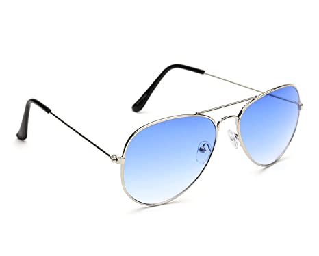 957aa3173c Gansta UV Protected Silver With Gradient Blue Lens Aviator Sunglasses for  Men Women (3002-Sil-Blu