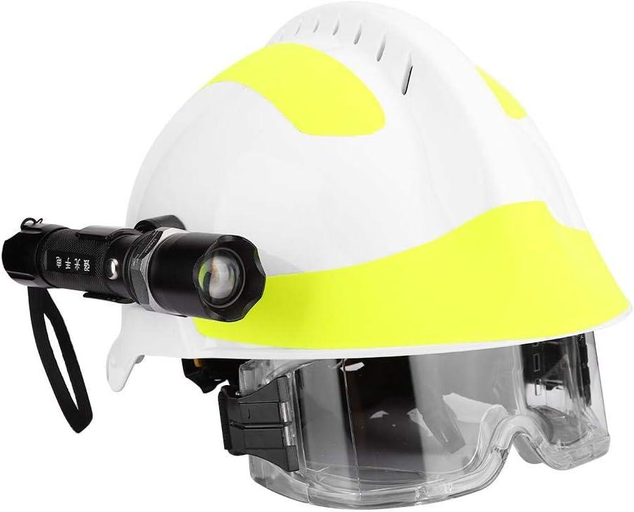 Hopcd Casco de Seguridad de Rescate de Emergencia, Casco Protector Profesional Anti-Impacto para Bomberos con Faro + Gafas + 53cm-63cm/20.9-24.8in tamaño Ajustable