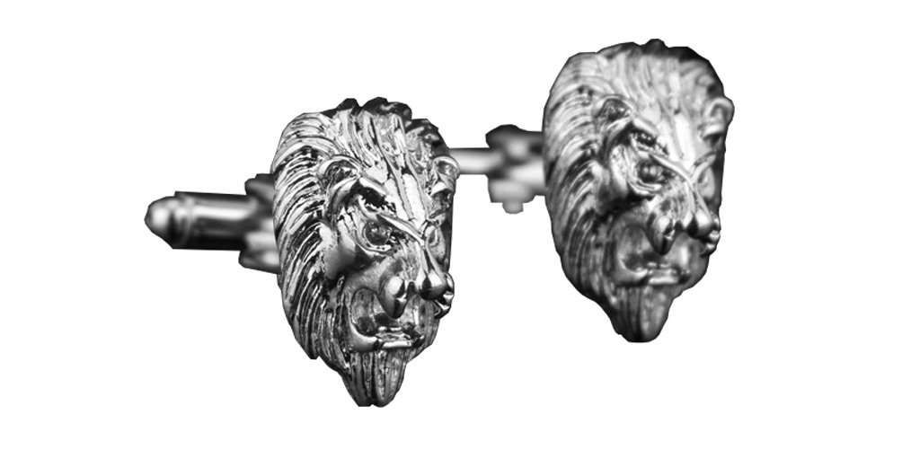 D&L Menswear Rhodium Plated Lion Head Cufflinks with Black Gift Box by D&L Menswear (Image #3)