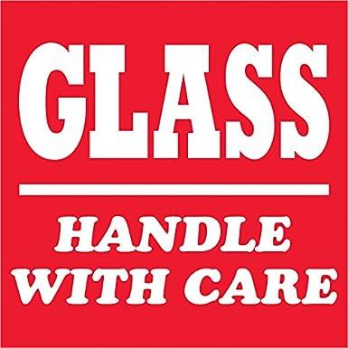 Handle With Care Parcel Labels//stickers 90 x 35 mm rouge et blanc