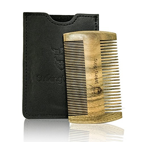 Wooden Beard Comb & Black Leather Case by Striking Viking - Anti-Static Wood Pocket Comb with Fine & Coarse Teeth For Beard Hair & Mustaches - Perfect With Balms And Oils