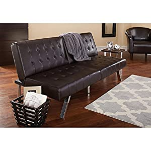 Quick 3 in 1 (Sofa, Lounger, Sleeper) Morgan Faux Leather Upholstery Brown Tufted Convertible Futon