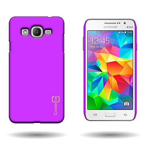 1-piece Hard Rubberized Plastic Shell Case Violet Purple CoverON® Slim Snap-On Protective Phone Cover for Samsung Galaxy Grand Prime