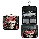 XLING Wash Gargle Bag Vintage Mexico Floral Flower Rose Skull Toiletry Bag Travel Portable Cosmetic Makeup Brush Case with Hanging Hook Organizer for Women Men
