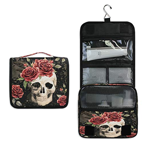 XLING Wash Gargle Bag Vintage Mexico Floral Flower Rose Skull Toiletry Bag Travel Portable Cosmetic Makeup Brush Case with Hanging Hook Organizer for Women Men]()