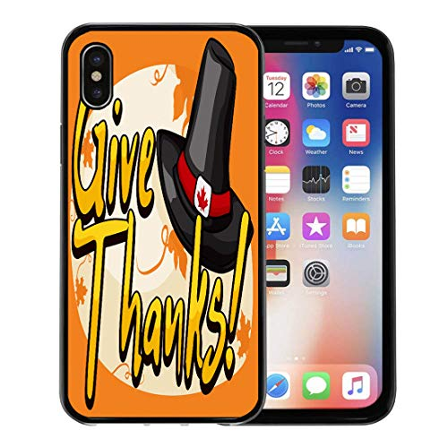 Semtomn Phone Case for Apple iPhone Xs case,Agriculture Traditonal Pilgrim Hat Decorated Canadian Buckle and Greeting for Thanksgiving Day Autumn for iPhone X Case,Rubber Border Protective Case,Black -